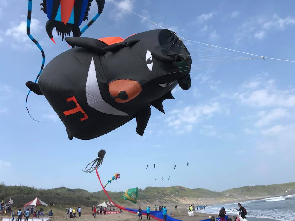 考量塔巴颱風影響,北海岸國際風箏節延1天改22日舉行,圖為去年風箏節的可愛台灣喔...