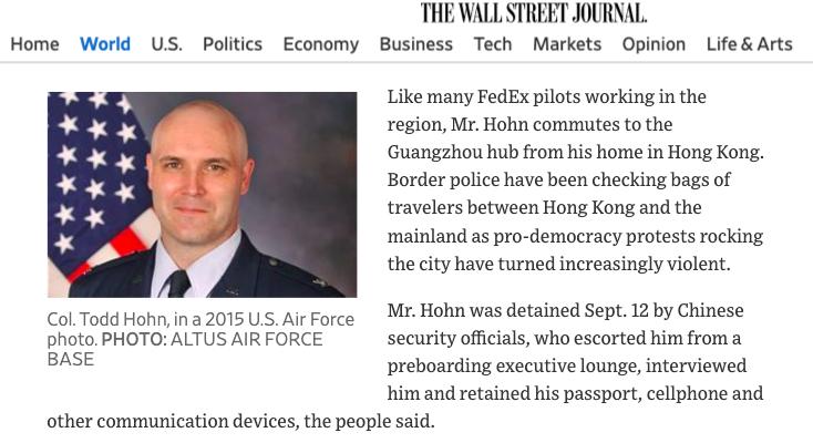 聯邦快遞公司(FedEx)機師霍恩9月12日候機返回香港住所前,被查獲行李內有空氣槍彈丸,遭留置在廣州。翻攝華爾街日報/奧克拉荷馬州阿爾特斯空軍基地2015年檔案照