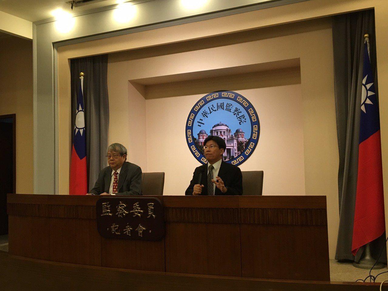 監察委員高涌誠(右)、陳師孟(左)認為現行刑法公然侮辱罪不合比例原則,且有違憲疑...