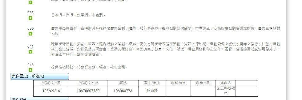 樂天提出商標申請。圖/擷自智慧局網頁