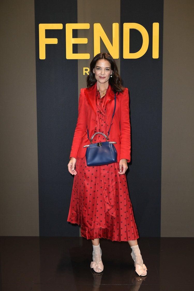 凱蒂荷姆斯出席FENDI 2020春夏時裝秀。圖/FENDI提供