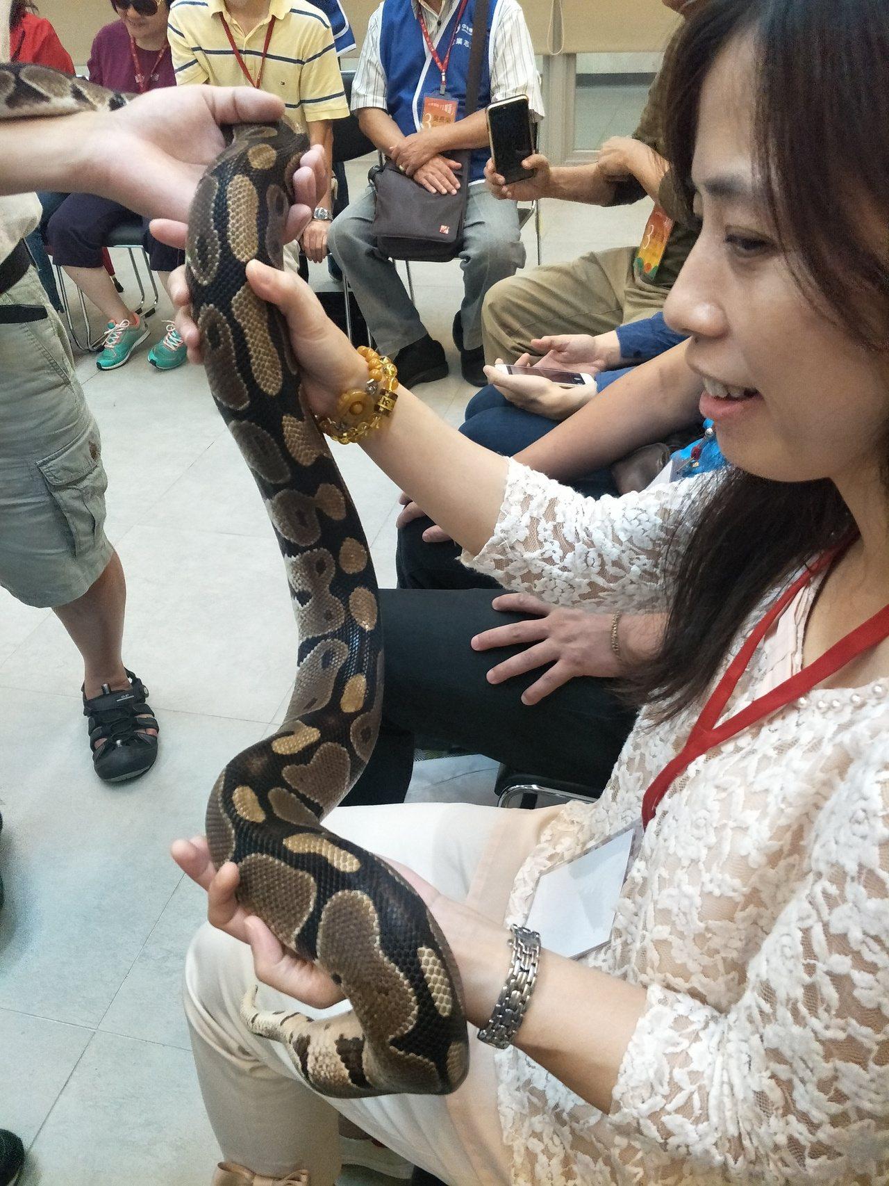 視障朋友體驗海科館兩棲爬蟲動物特展,露出驚喜表情。圖/海科館提供