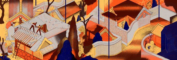 雙人藝術家ICINORI在首爾旅遊繪本之中,對於光化門的描繪有細緻的空間感。圖/...