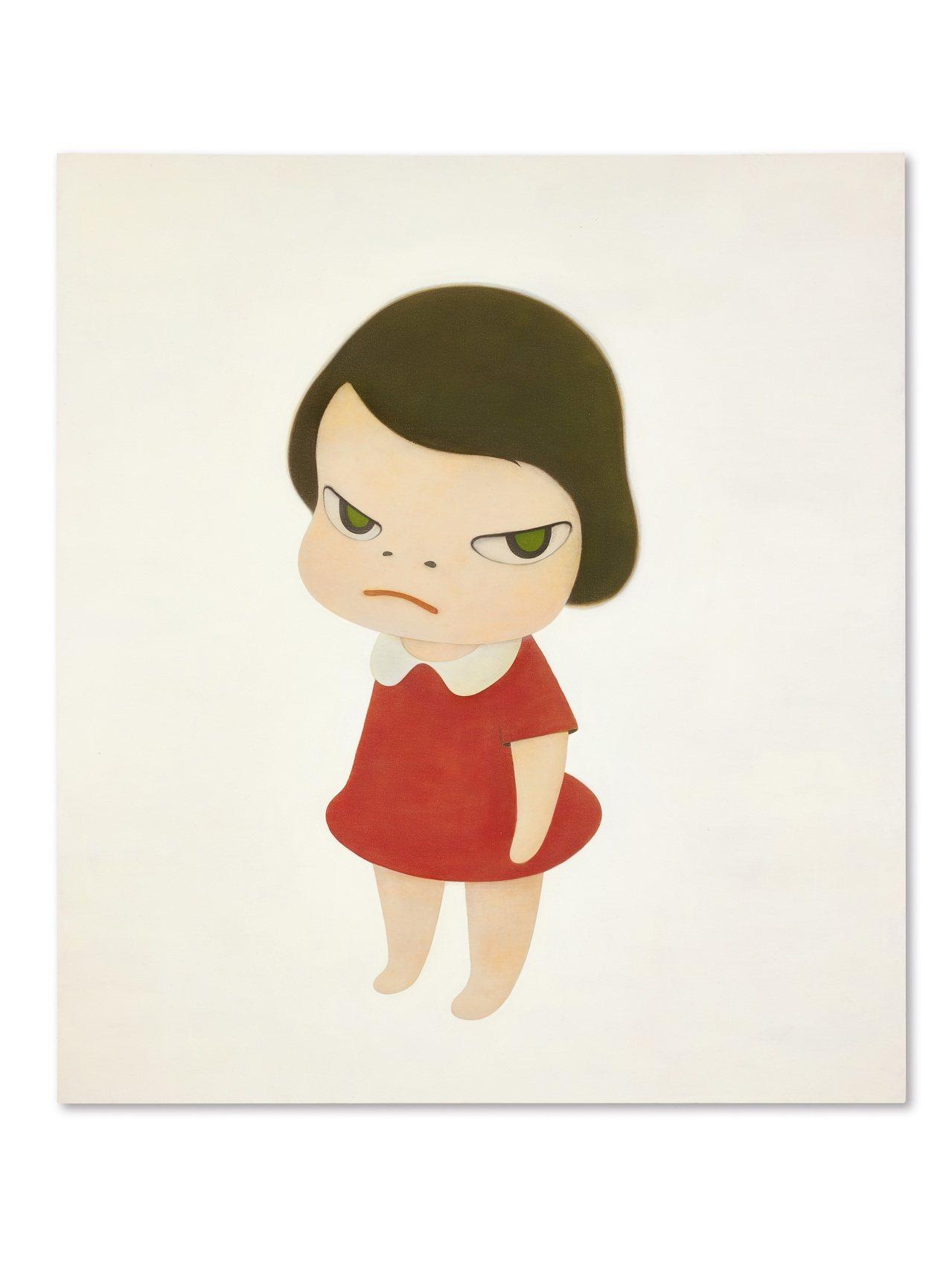 奈良美智「背後藏刀」領銜,這幅234 x 208公分的作品,是拍場上歷來尺幅最大...