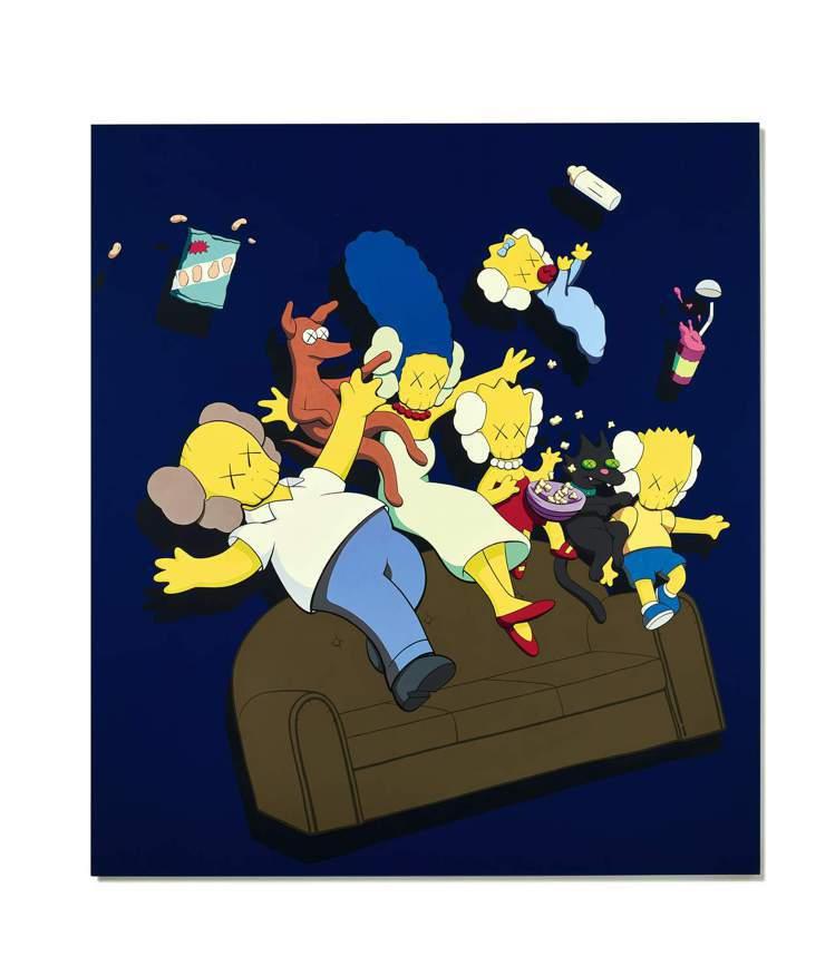 KAWS以卡通辛普森家庭為主題創作的「KIMPSONS #1」。圖/蘇富比提供