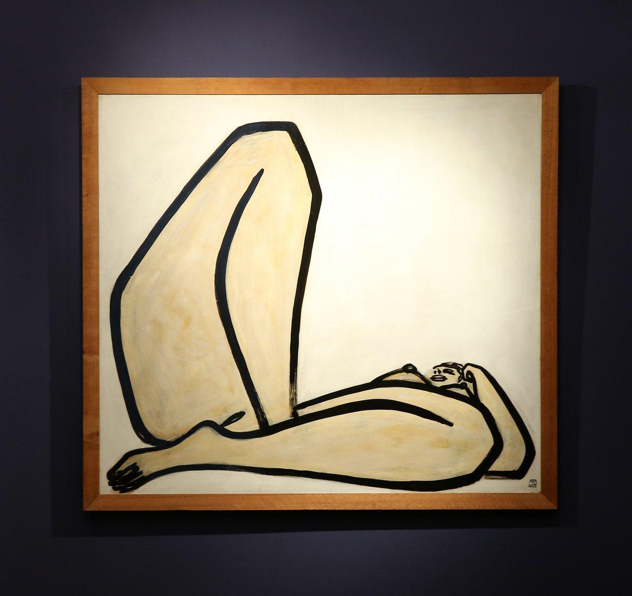 常玉最後一件裸女作品「曲腿裸女」,逾半世紀後首度亮相台北。記者林澔一/攝影