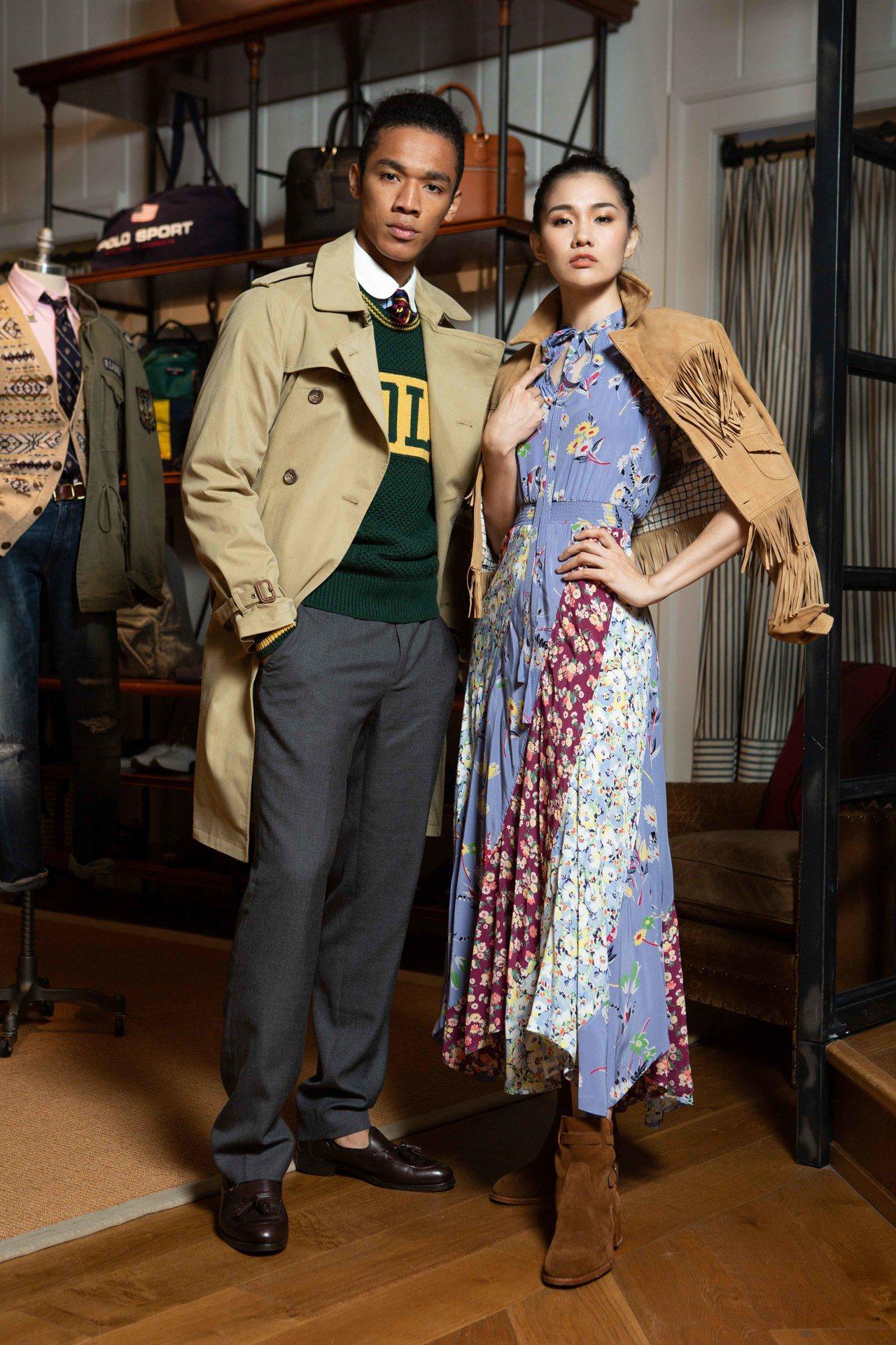 Polo Ralph Lauren男裝駝色風衣36,880元、襯衫4,680元、...