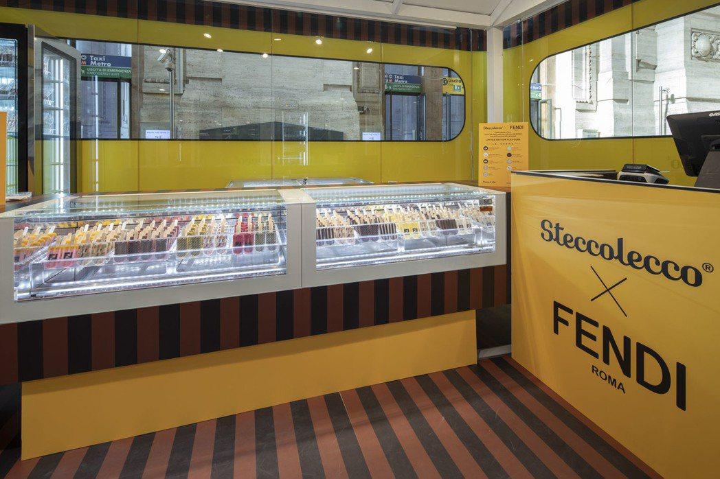 FENDI x Steccolecco期間限定店以FENDI標誌性的黃色和198...