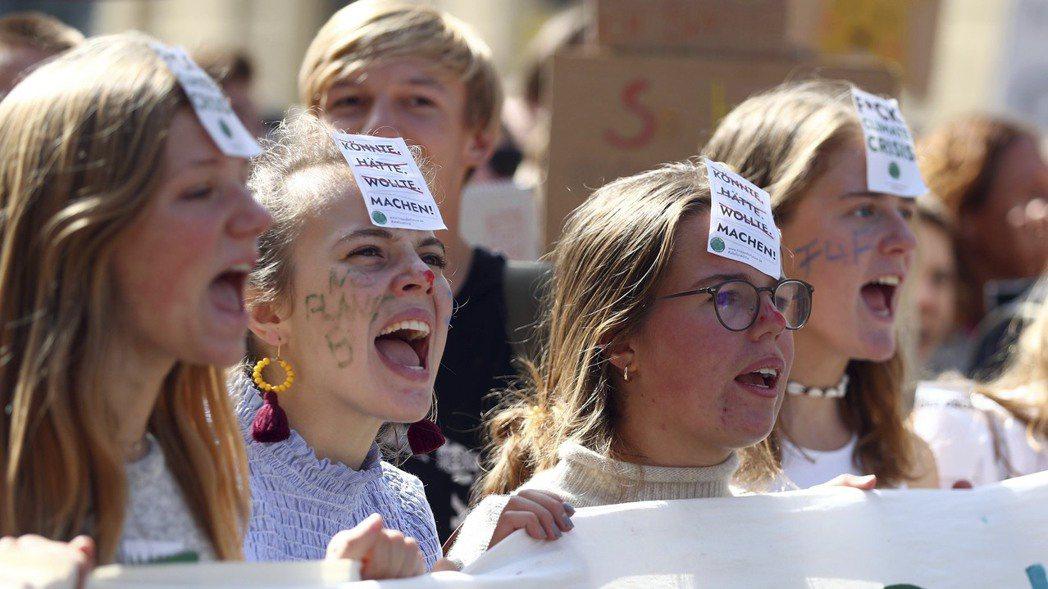 德國年輕人20日參與全球串聯的氣候變遷抗議活動。美聯社