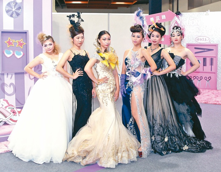 華夏科技大學化妝品應用學系學生於國際美容化妝品展走秀。 記者蘇健忠/攝影