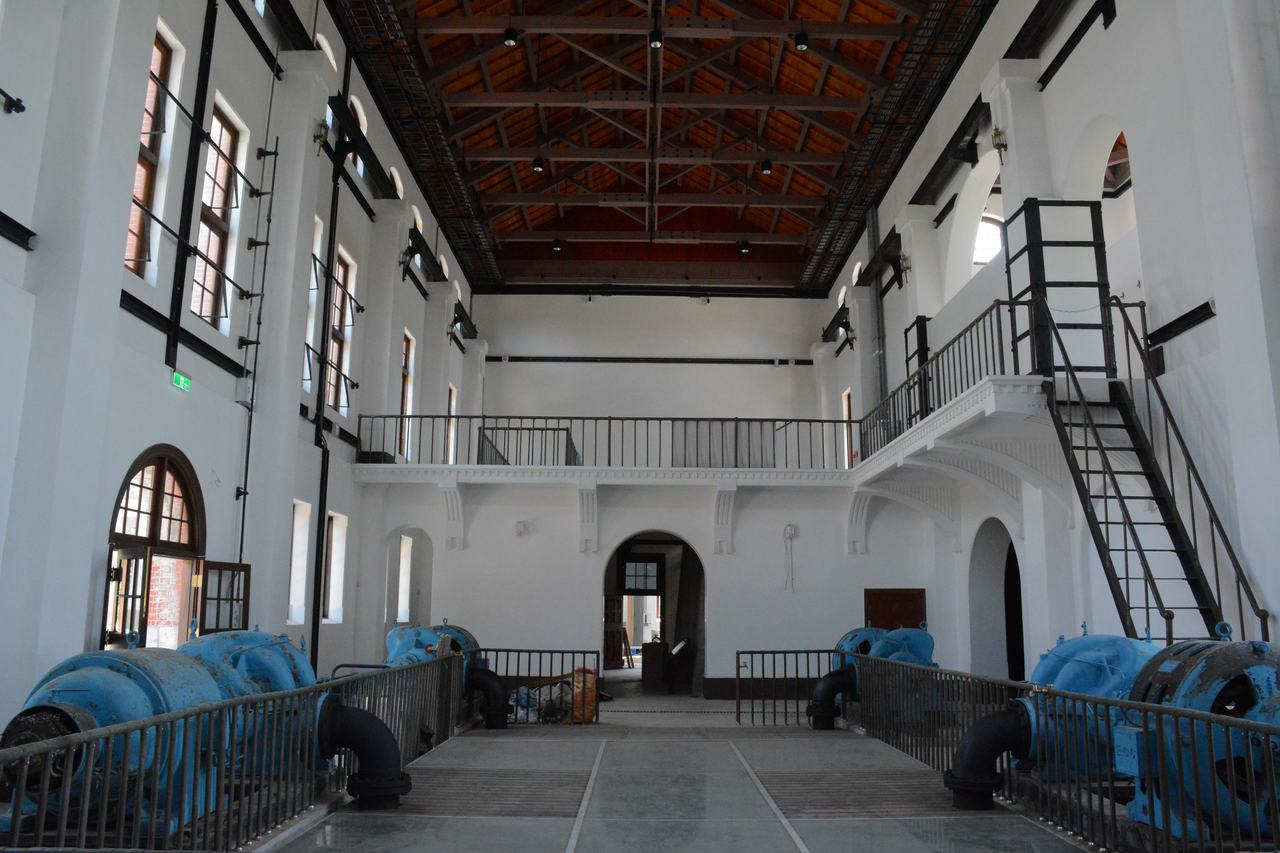 台南水道博物館「送出唧筒井」建築內部。記者吳淑玲/攝影