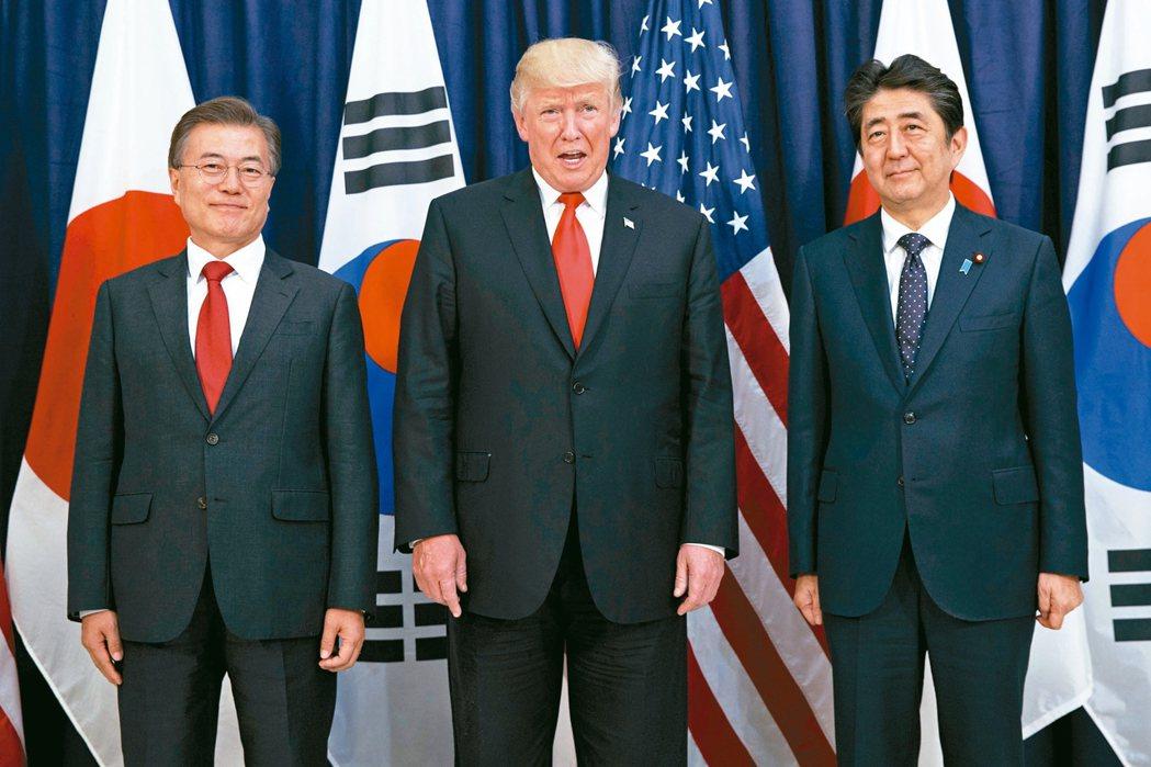 日相安倍(右)與美國總統川普(中)、南韓總統文在寅。圖為三人2017年東北亞安全...