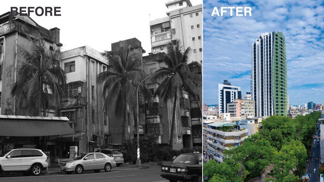 都更是讓危老建築重生的契機,左為都更前和平大樓,右為「逸文苑」。 圖片提供/京城...