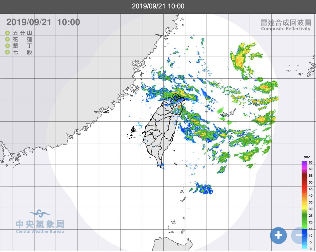 受颱風外圍環流影響,各地天氣不穩。圖/氣象局提供