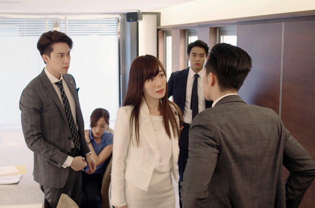 陽靚(右)、劉書宏在戲中與事業對手發生衝突。圖/東森提供