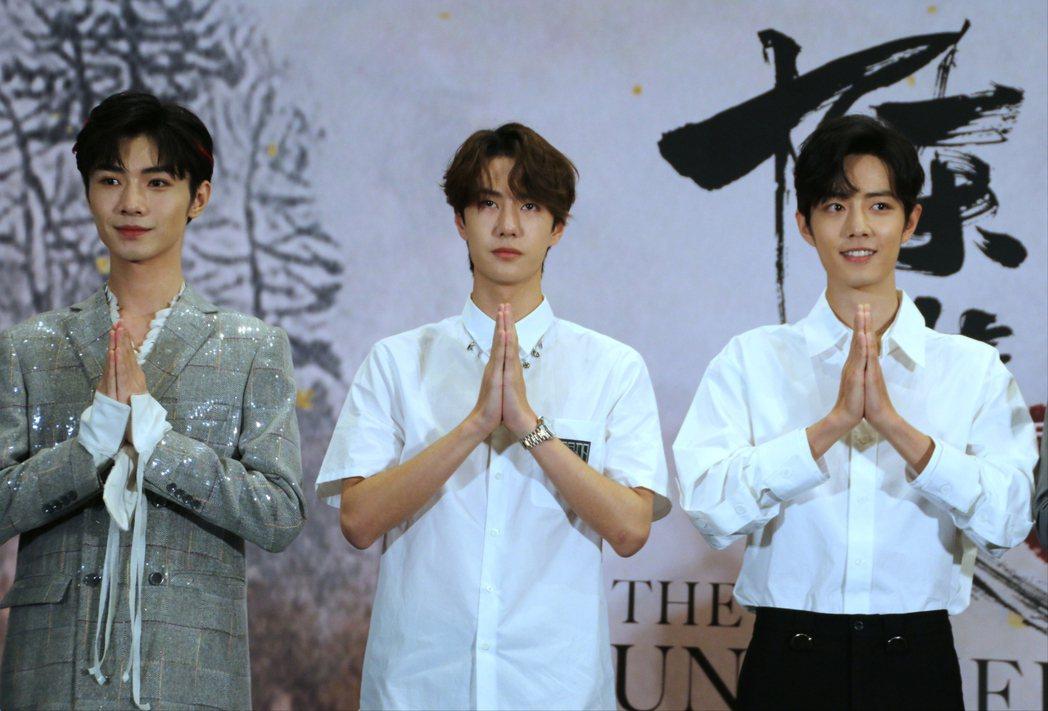 肖戰(右起)、王一博、宋繼揚問候泰國。記者李姿瑩/攝影