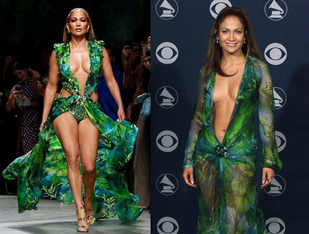珍妮佛洛佩茲20年身材幾無改變,穿上這襲綠色凡賽斯服裝,永遠性感搶眼。圖/路透資