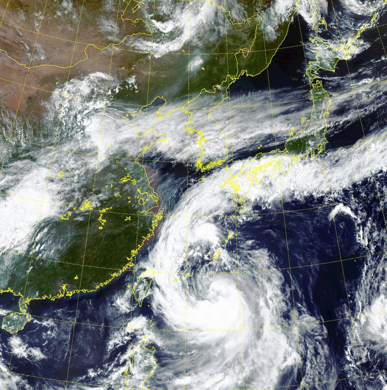 南韓氣象廳20日公布的颱風「塔巴」衛星雲圖。歐新社