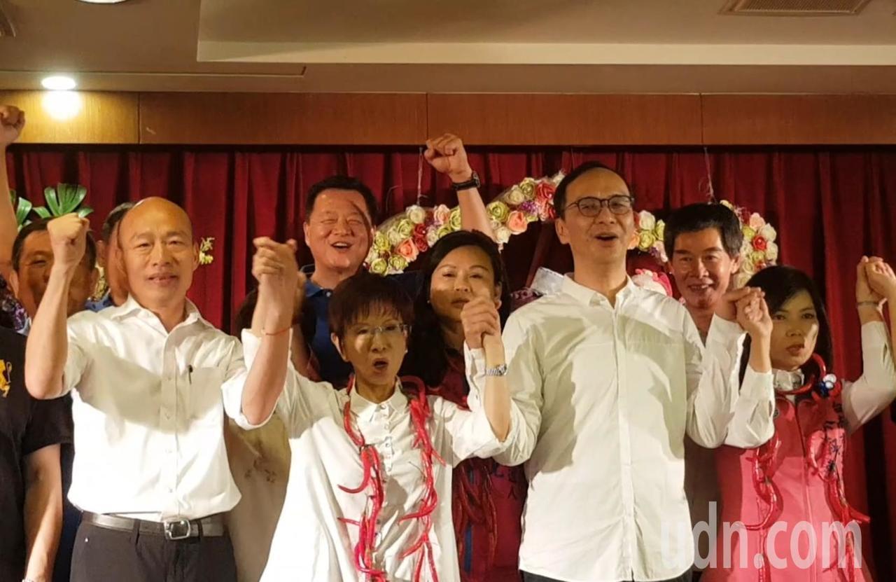 韓國瑜、朱立倫與洪秀柱今天三人同台。記者修瑞瑩/攝影