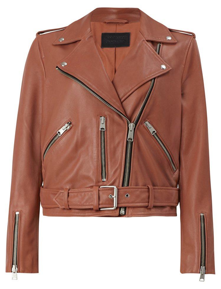 AllSaints Balfern玫瑰粉騎士皮夾克17,900元。圖/AllSa...