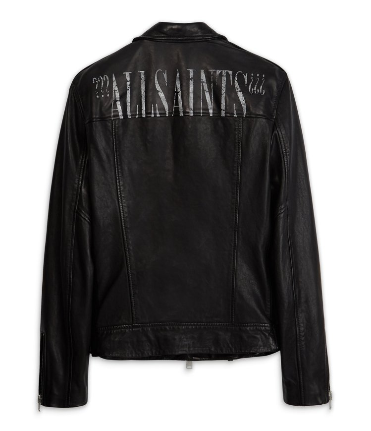 AllSaints Roundhouse logo騎士皮夾克21,300元。圖/...