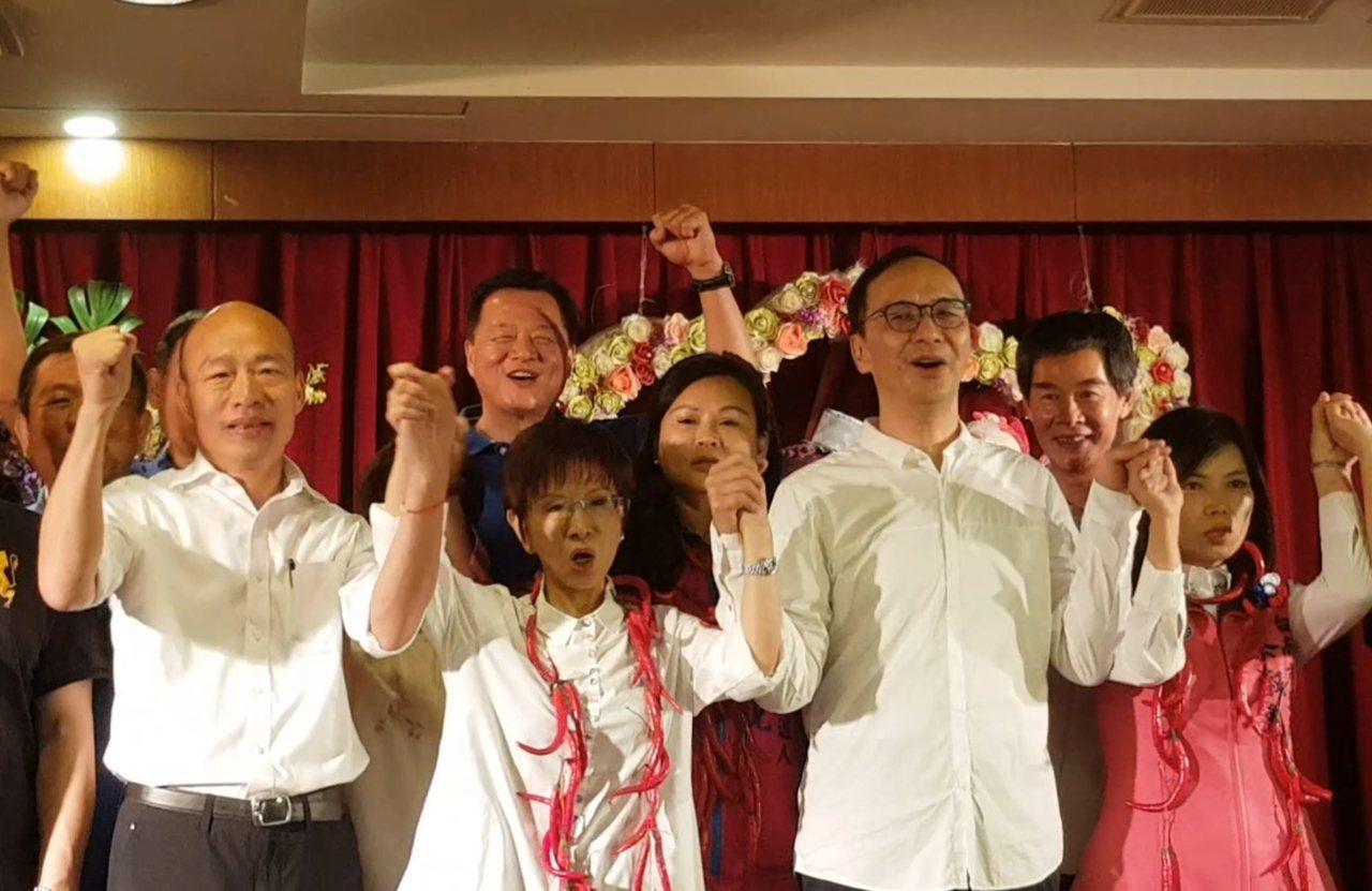 朱立倫今天南下為洪秀柱站台助選,韓國瑜也到場。記者修瑞瑩/攝影