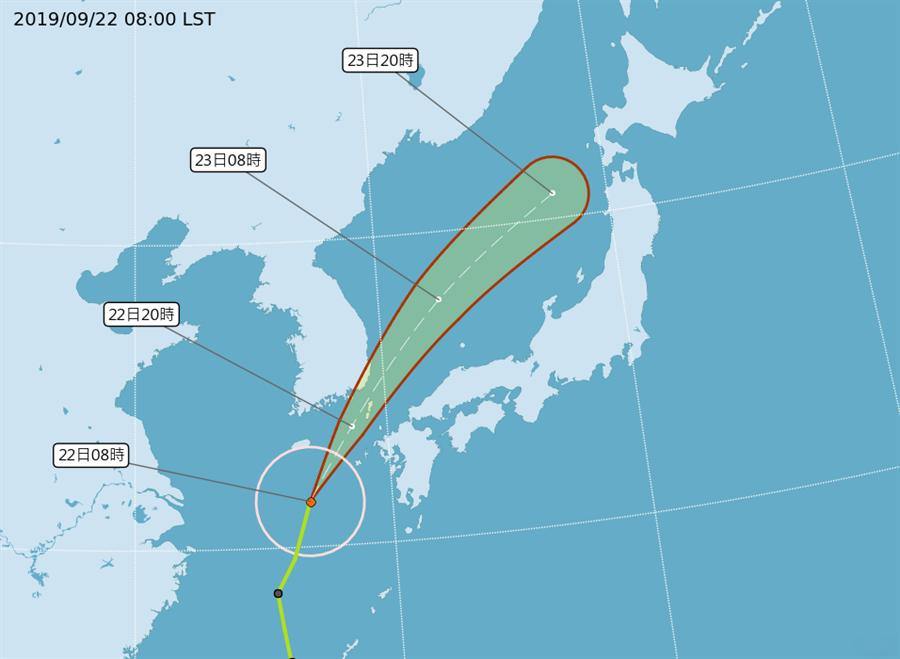 塔巴颱風9月22日、23日會經過南韓、日本九州一帶。圖/氣象局提供