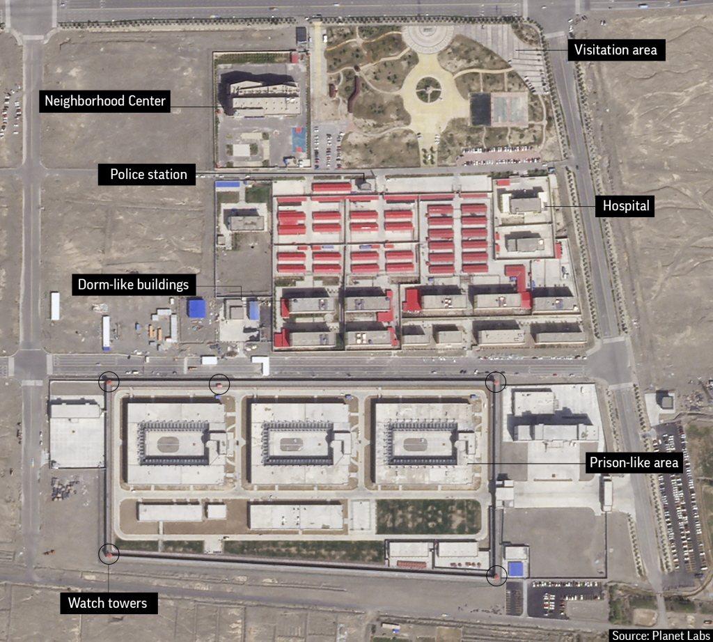 由美國衛星影像公司「星球實驗室」(Planet Labs)拍下的「再教育營」。 圖/美聯社