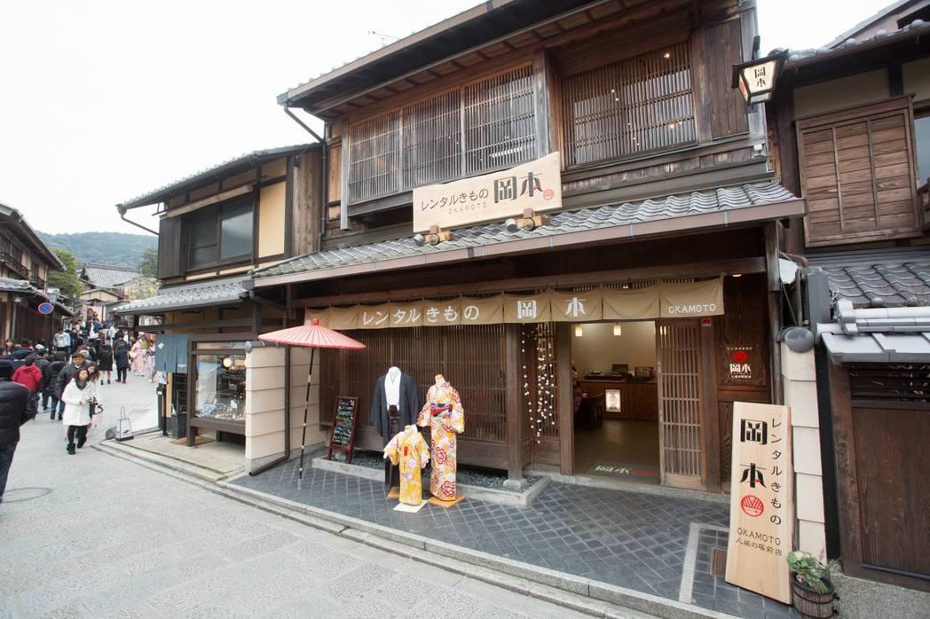 岡本和服租借店的建築,是典型的京都町屋風格。圖/岡本和服提供