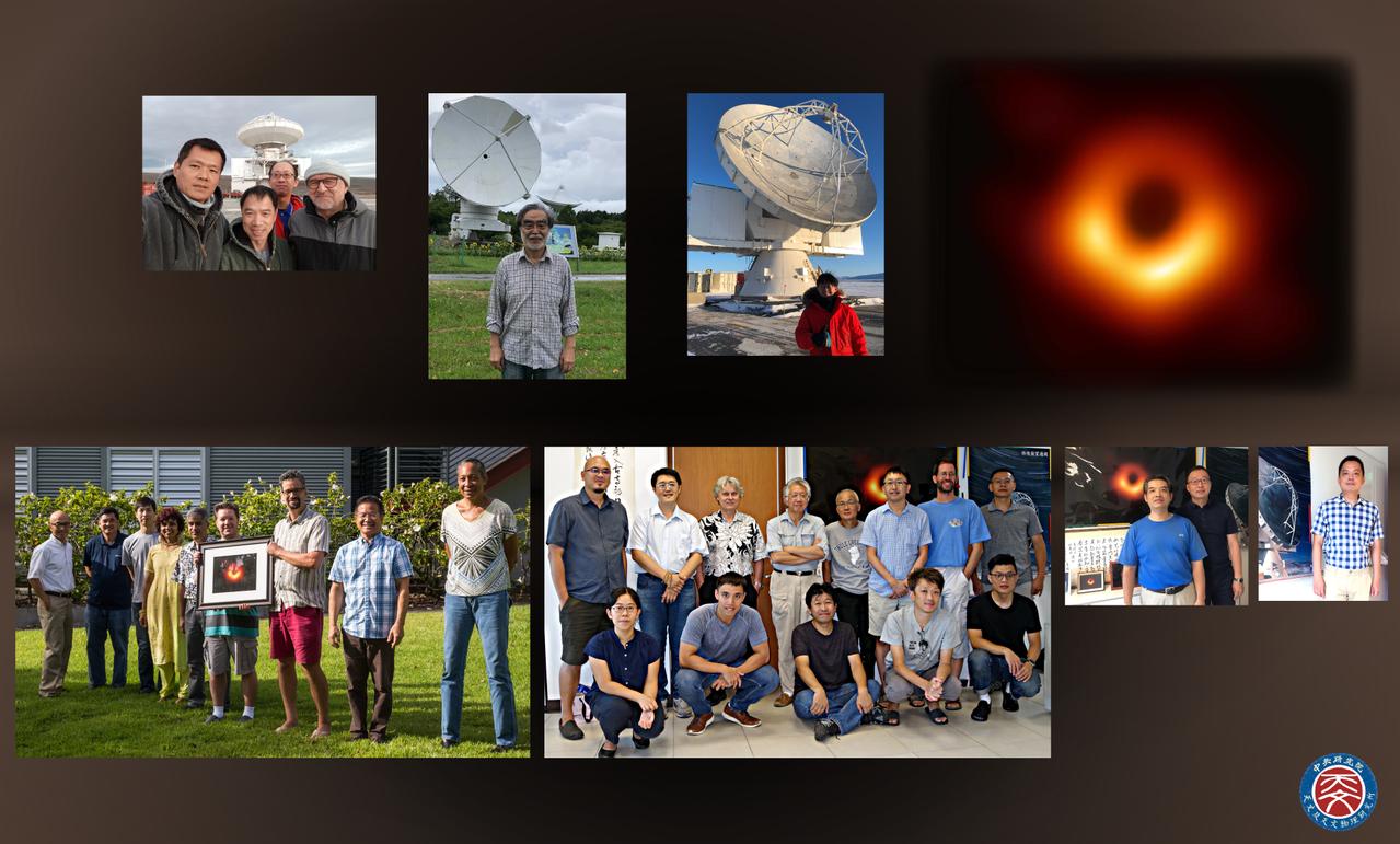 中研院天文及天文物理研究所參與「事件視界望遠鏡合作計畫」相關成員及參與拍攝的黑洞...
