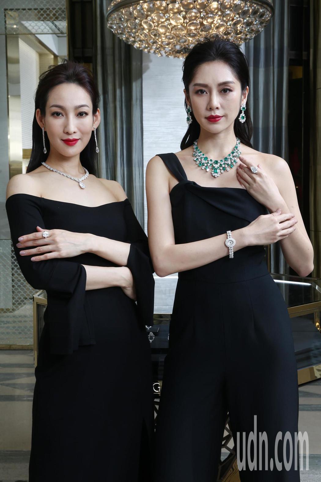 李曉涵(左)與廖奕琁(右)性感演繹格拉夫多形切割鑽石項鏈,紅寶石與格拉夫多形切割...