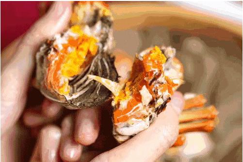 陽澄湖大閘蟹蟹黃蟹膏滋味鮮美。取自上海滋味鮮美。取自上海東方網