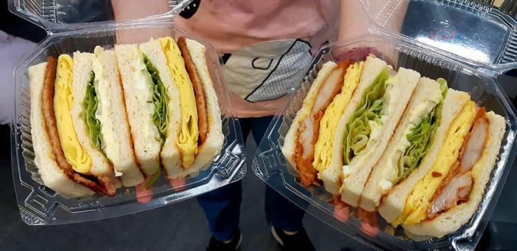 「高三孝碳烤吐司」三明治蛋厚肉嫩。圖/udn讀者提供