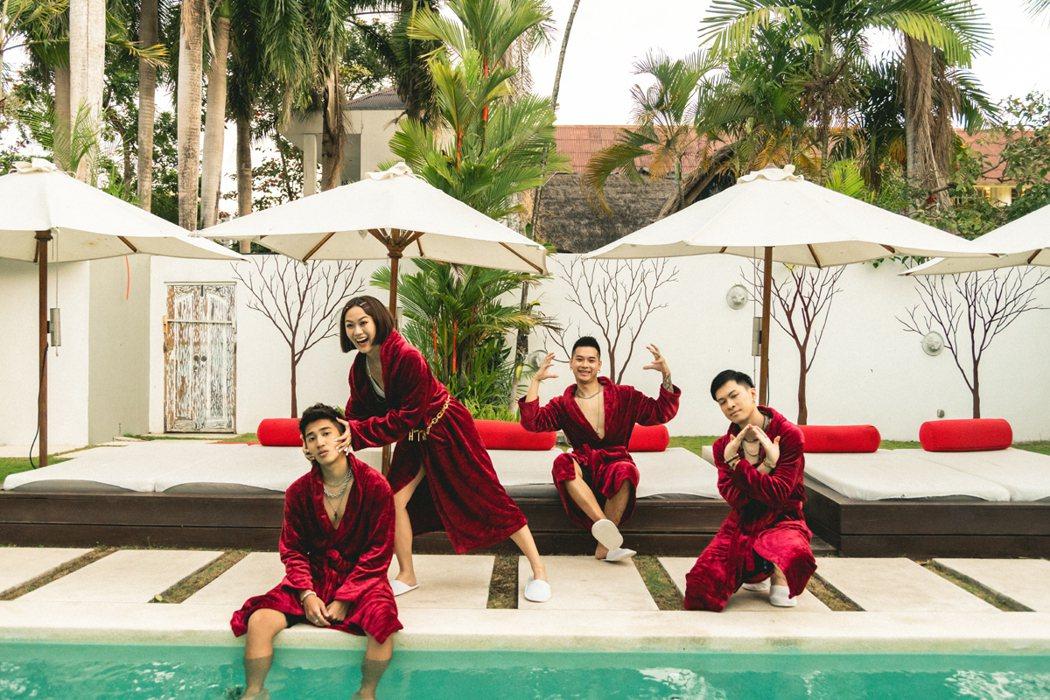 Ching G Squad到峇里島拍攝新歌MV。圖/華風數位提供