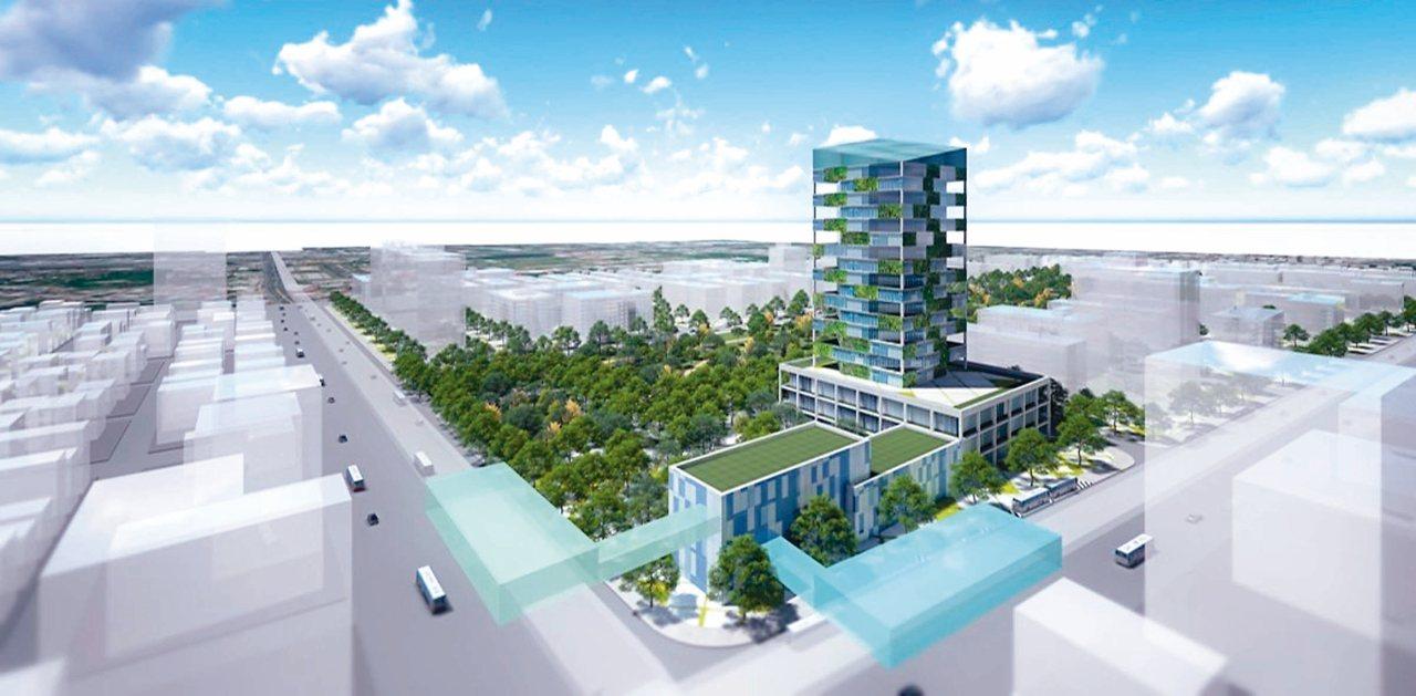 台南市府將興建第一個捷運轉運站,圖為中華東路與小東路口的平實轉運站模擬圖。 圖/...