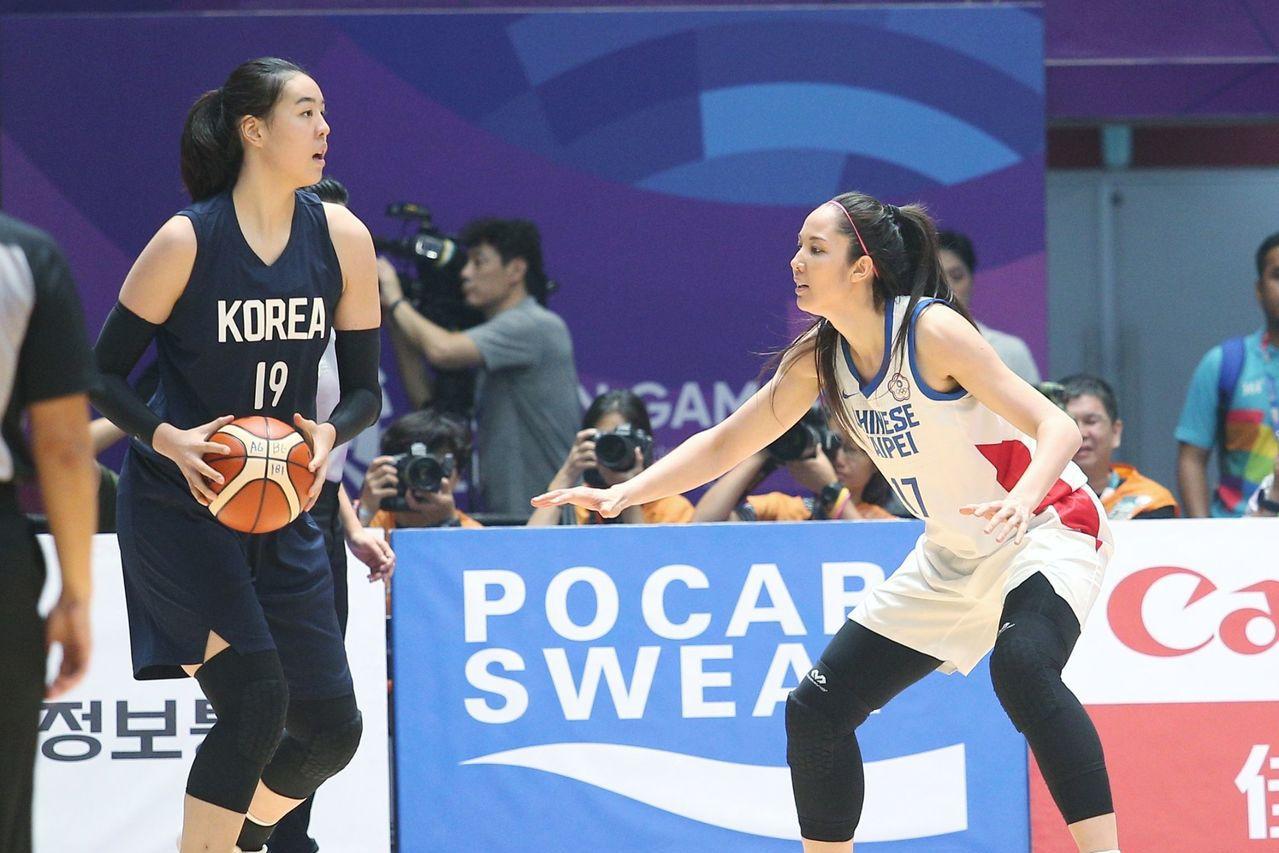 中華隊亞洲盃小組賽首戰南韓,南韓今年陣容大幅換新,WNBA好手朴智修(左)缺陣,...
