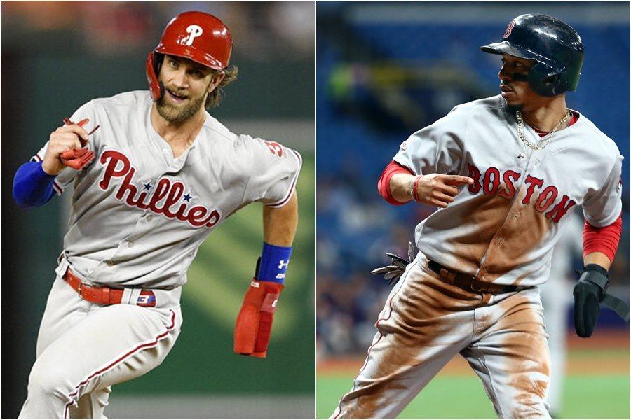 費城人哈波(左)和紅襪貝茲(右)今天隔空較量,分別演出雷射肩助殺跑者。 路透、美...