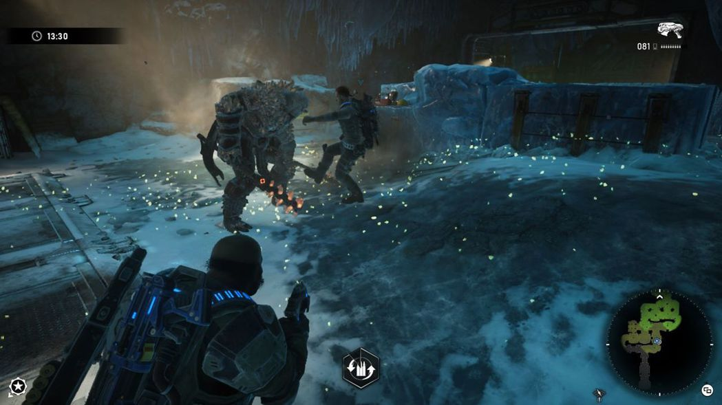 遊戲中僅會記錄遊玩的時間(左上角),但地圖會隨著毒氣的擴散(右下角綠色處)逼迫玩...