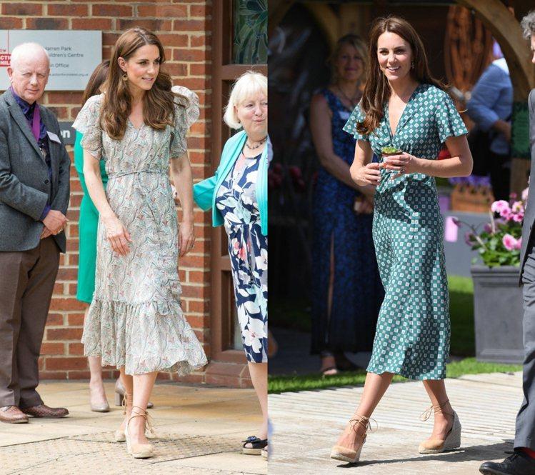 凱特王妃前陣子時常穿上洋裝搭配Castañer的綁帶草編涼鞋。圖/達志影像