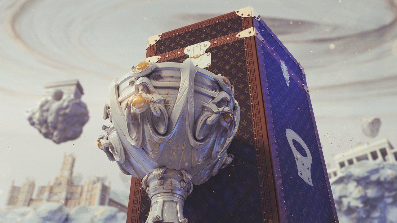 路易威登打造英雄聯盟冠軍獎盃手提箱,形象圖氣勢磅礡超夢幻。圖/LV提供