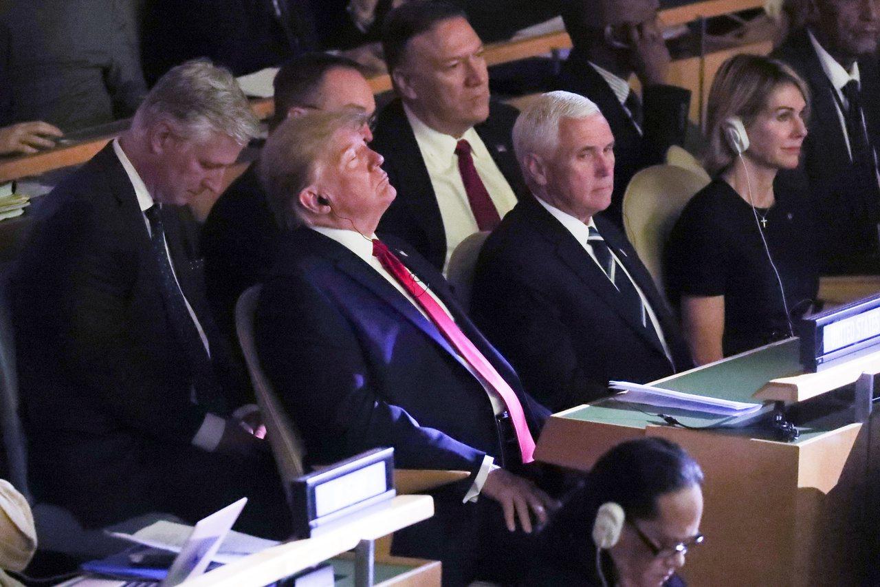 川普本來未計畫出席聯合國氣候行動峰會,在台下也只短暫待15分鐘,聽了德國總理梅克...