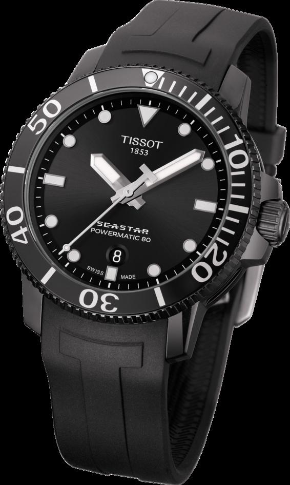 天梭表Seastar 1000海星系列自動上鍊腕表,黑色PVD不鏽鋼表殼搭配黑色...