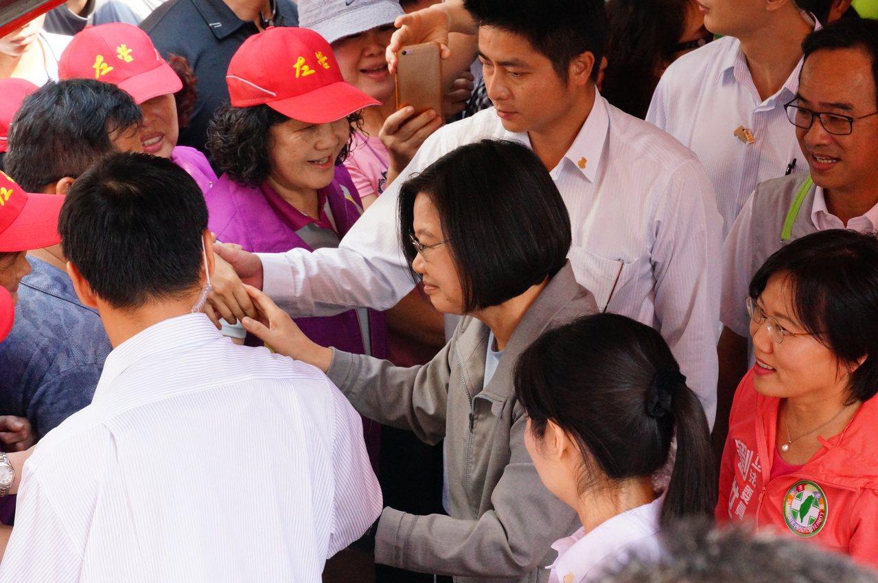 民眾前來挺總統蔡英文。記者林伯驊/攝影