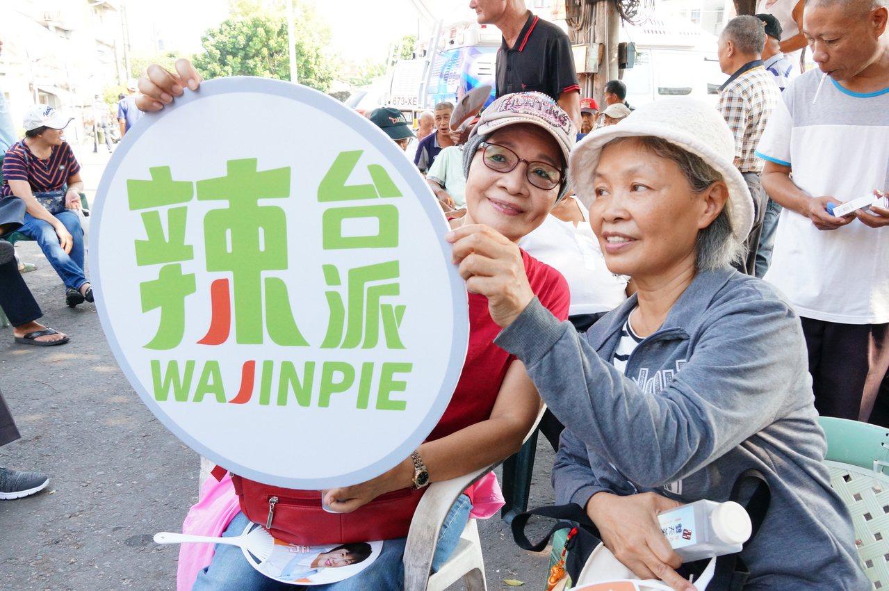 總統蔡英文支持者舉辣台派牌子。記者林伯驊/攝影
