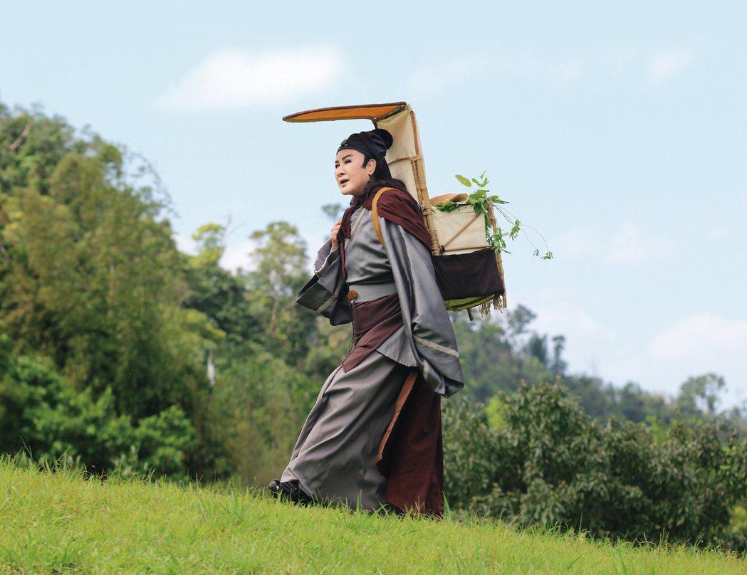 楊麗花在「忠孝節義」中親自上演山坡奔跑戲碼。圖/麗生百合提供