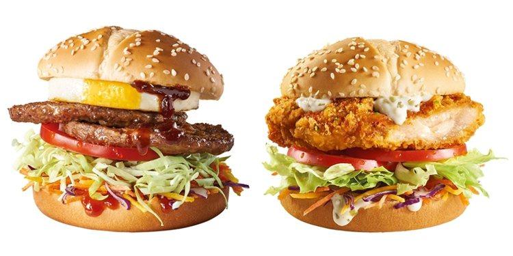 醬烤蛋煎雙牛堡(左)、柚香塔塔脆鷄堡(右)單點99元、套餐149元。圖/麥當勞提...
