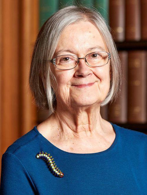 赫爾在最高法院的檔案照中,戴著一只毛毛蟲造型的胸針。(路透)