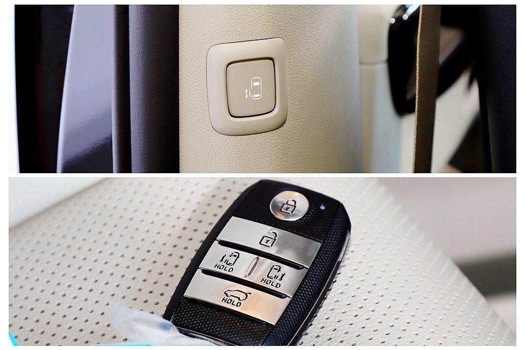 實用的兩側電動滑門,還可以從Smart Key智慧感應型遙控鑰匙上直接控制。 記...
