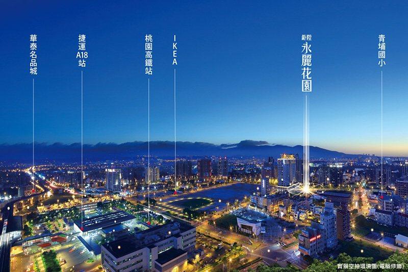 「鉅陞永麗花園」坐落桃園高鐵500米黃金角地。 圖/鉅陞永麗花園 提供