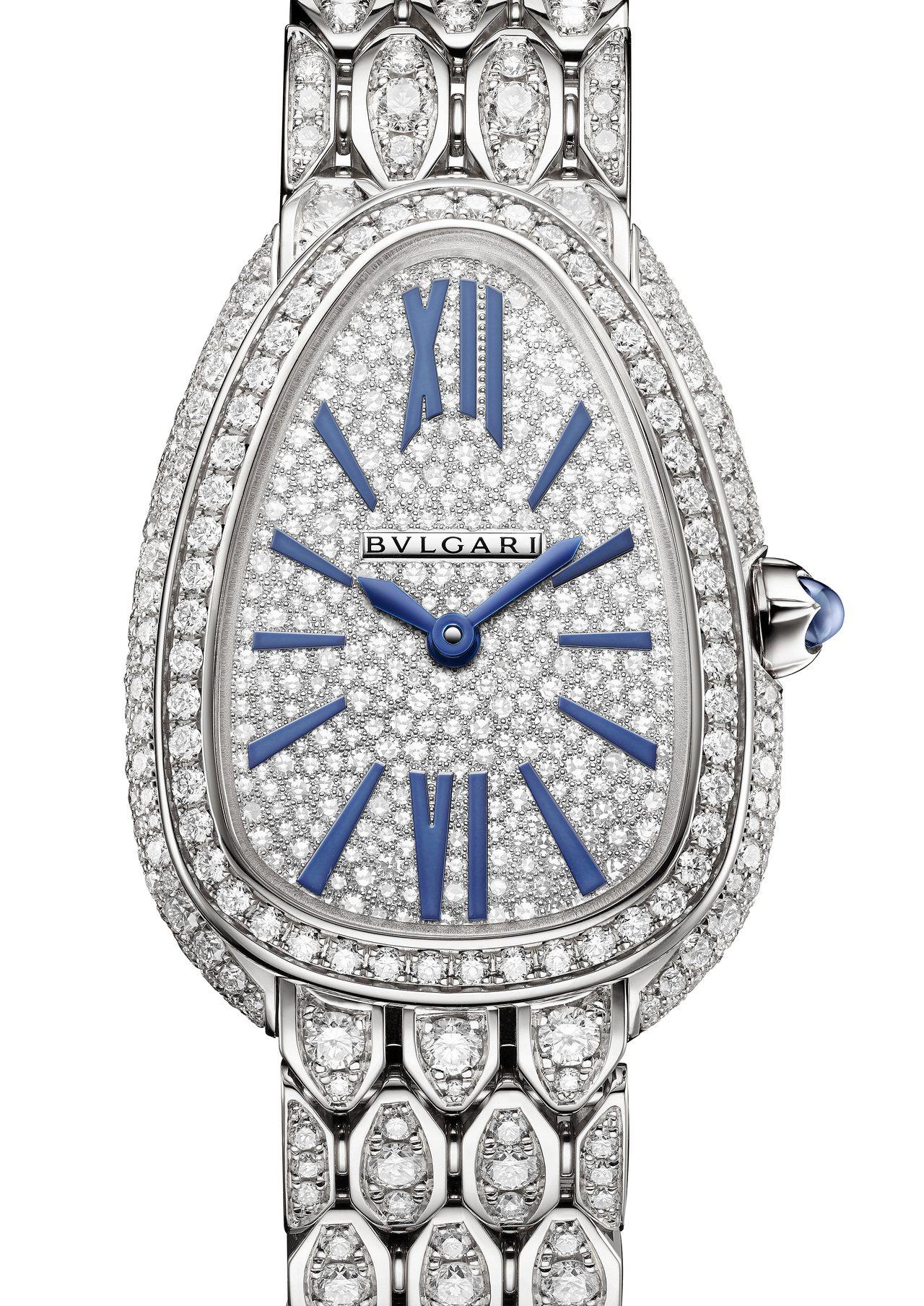 寶格麗Serpenti Seduttori系列白金鑽表,18K白金表殼、表鍊,表...
